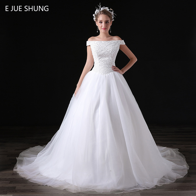 E JUE SHUNG White Full Beads Ball Gown Wedding Dresses