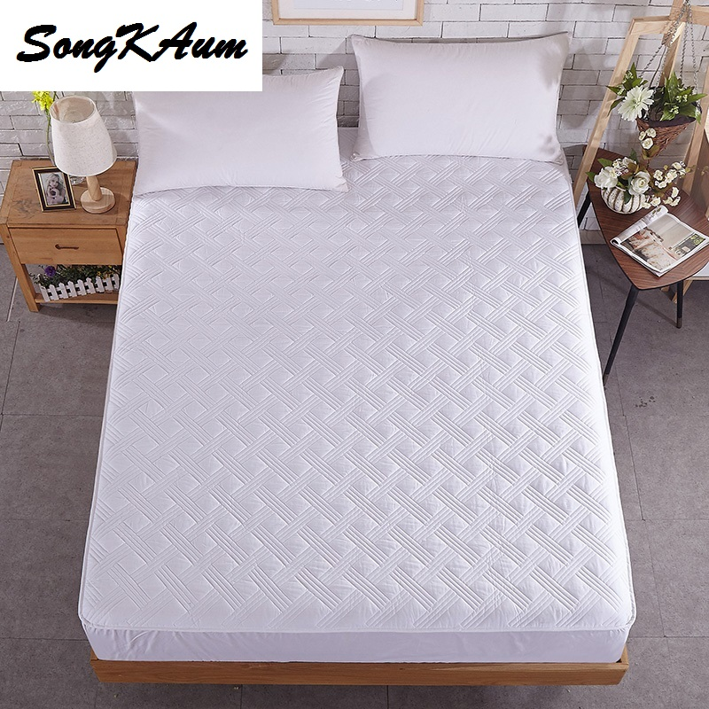 SongKAum Mattress Cover High-Quality Solid Color Bed Mattress Cover Pad Protector Sueding 100% Cotton Padded
