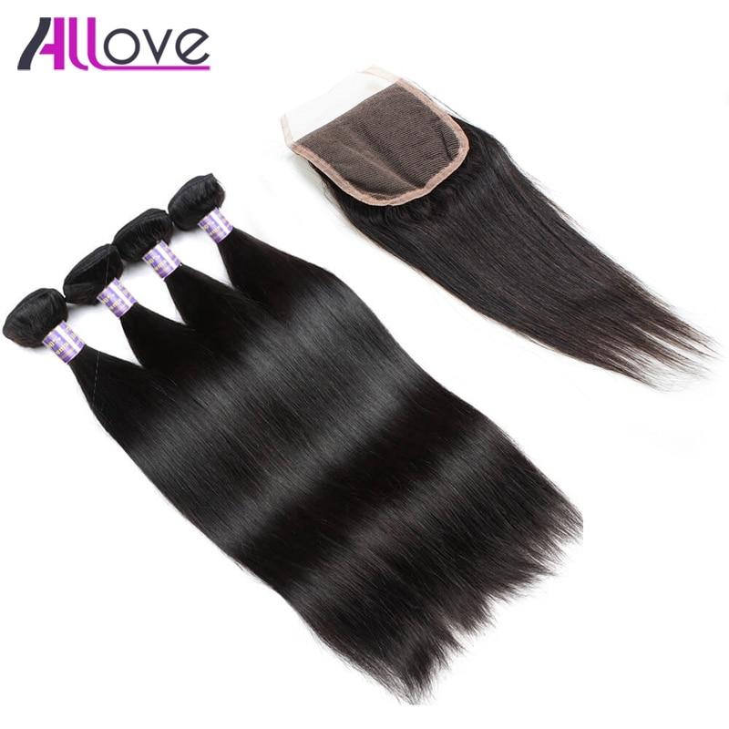 Allove индийские волосы прямые волосы 3 Связки с Синтетическое закрытие волос 100% Волос ...