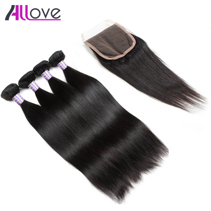 Allove Hair Indian Straight Hair 3 Bundles With Closure 100% Remy Hair Natural Color Free Part 4X4 Lace Closure With Human Hair