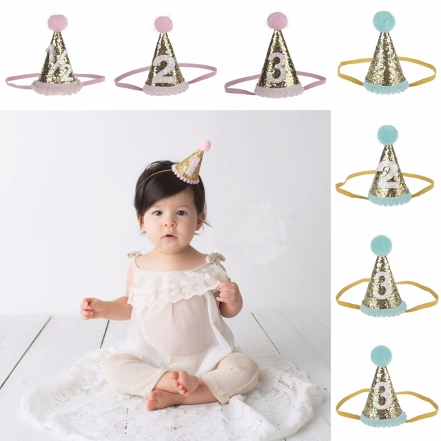Beautiful Floral Baby Crown First Birthday Cone Hat Sparkle Gold Headband For Infant Toddler Newborn Children