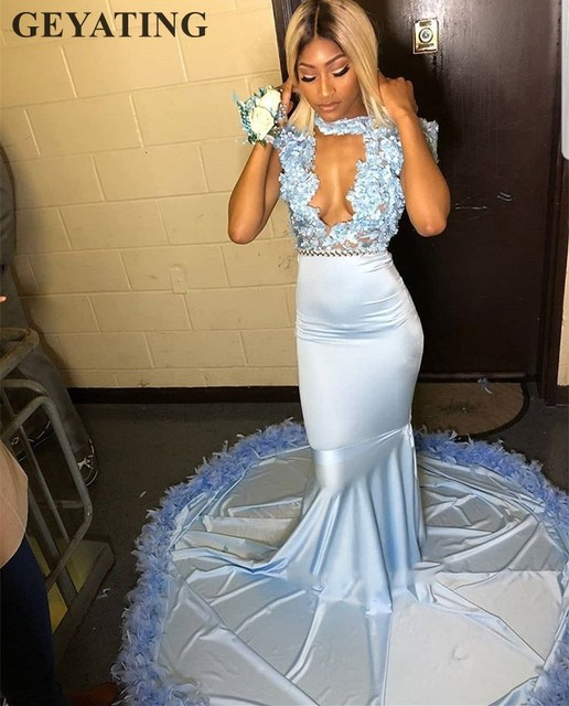 2019 Sky Blue Mermaid Feather African Prom Dresses for Black Girls High  Neck Sexy Cut- 8e3a3faadd24