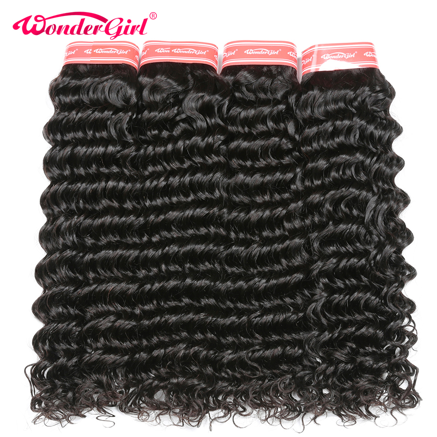 Wonder girl Deep Wave 4 Bundles Deal Peruvian Hair Bundles Remy Hair Extensions Human Hair Bundles N