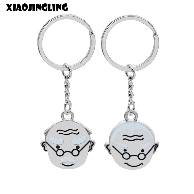 XIAOJINGLING Couple Keychain Grandparents Fashion Key Holder Charming Creative Keyring Wedding Jewelry Fathers/Mothers Day Gifts