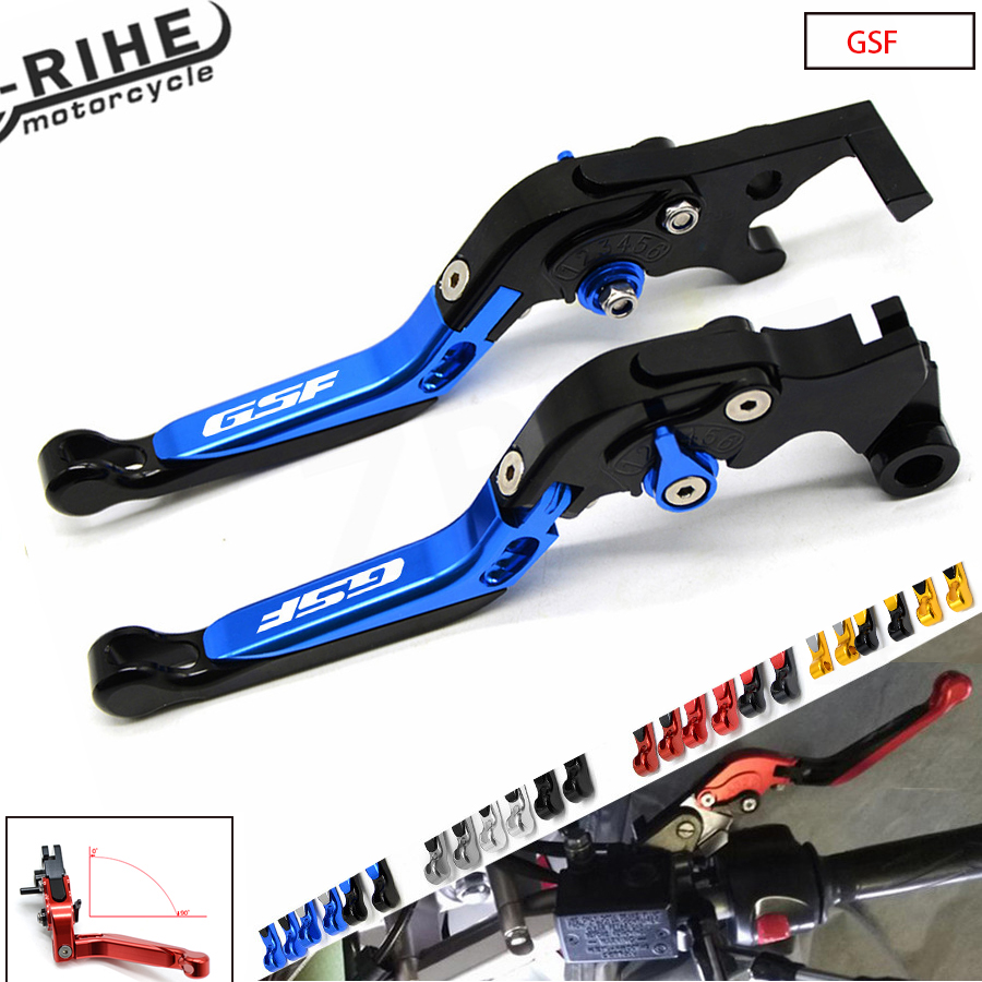 CNC Motorcycle With Logo Telescopic folding Adjustable Brake Clutch Levers For Suzuki GSF1200 BANDIT 2001-2006 GSF Bandit 650 15 adjustable short straight clutch brake levers for suzuki gsx 650 f gsf 650 bandit n s dl 1000 v strom 2002 2015