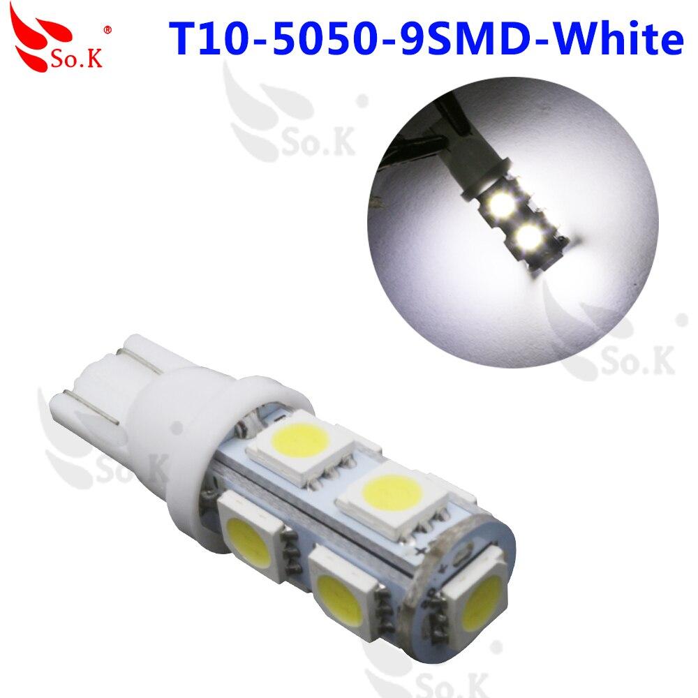 1pcs Super White Wedge T10 9SMD 5050 LED blue pink Light bulbs W5W 2825 158 192