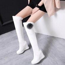 2016 New-Dessus Du Genou Bottes Mode Boot 2016 Hiver femme Pompes Plate-Forme de Cale Chaussures Femmes Cuissardes Bottes Blanc chaussures