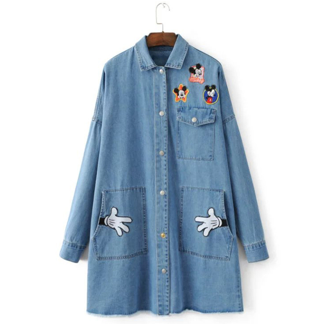 Winter Fashion Vintage Blue Denim Trench Coat Patch Design Pockets Outerwear Plus Size Turn-down Collar Long Sleeve Women Coats