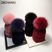 Moda real Fox fur pompoms bola mantener caliente invierno sombreros para las mujeres sombrero de lana de punto gorros casquillo femenino grueso cap