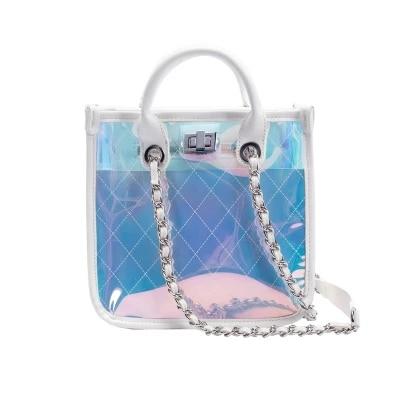 Magic color Transparent Jelly Bags Letter shoulder Bags Personality chains bag FQXMagic color Transparent Jelly Bags Letter shoulder Bags Personality chains bag FQX