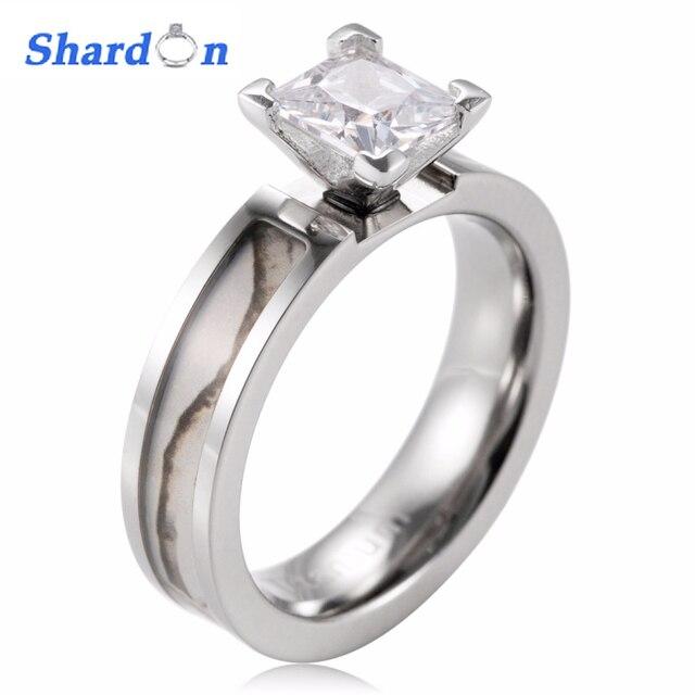 shaodon white camo engagement ring titanium snow tree engagement wedding band 4 prong setting princess cz - White Camo Wedding Rings