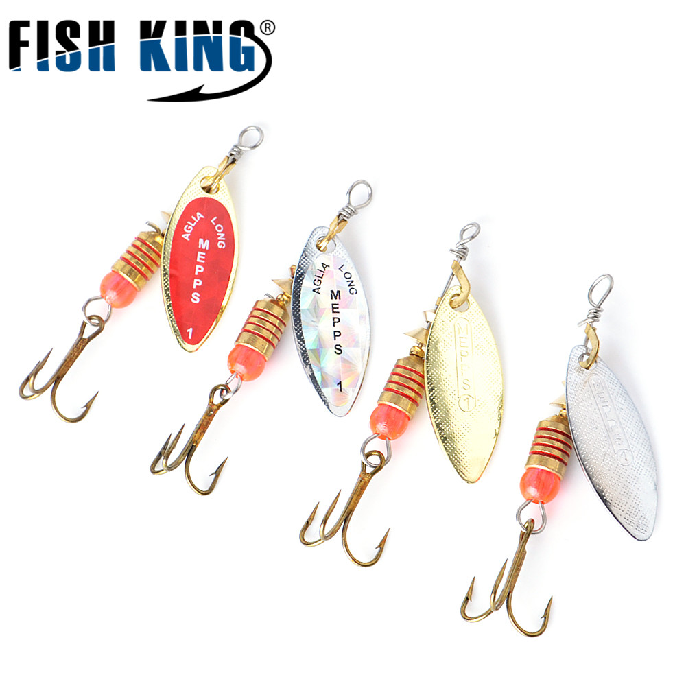 Fishing Lure Mepps Long Cast Spoon Spinner 4 pcs/lot Silver Gold Metal Fishing Bait Treble Hook Hard Lures Feeder Spooners 531 bammax fishing lure 1 box metal iron hard bait sequins shore jigging spoon lures fishing connector pin fishing accessories pesca