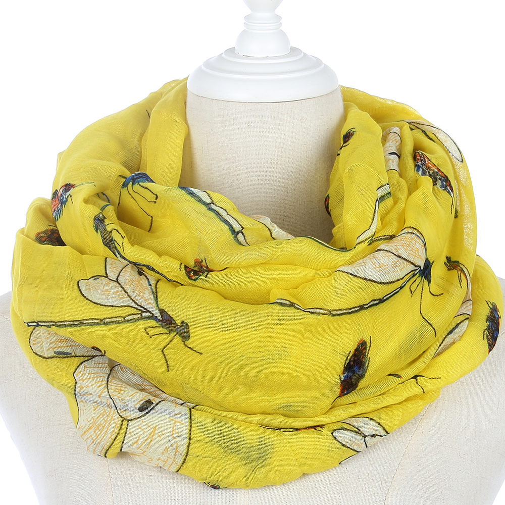 FOXMOTHER New Fashion Brand Women Yellow Dragonfly Insect Infinity Scarf Shawl Wrap For Womens