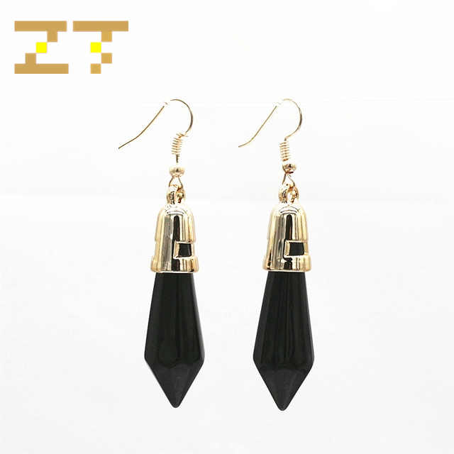 Hot Sale Fashion Long Statement Black White Geometric Rhombus Bullet Gold Dangle Drop Earrings for Women Jewelry Bijoux Brincos