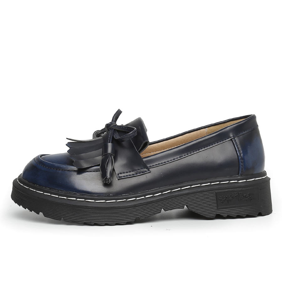 43 34 Taille Brogue Handueke Slip red Femme forme Haute Plate Chaussures Loafer Mocassins sur blue Black Marque Loafter La Loafer Cuir Appartements Gland Plus En Qualité Dame Loafer Femmes yellow Hq1HRO