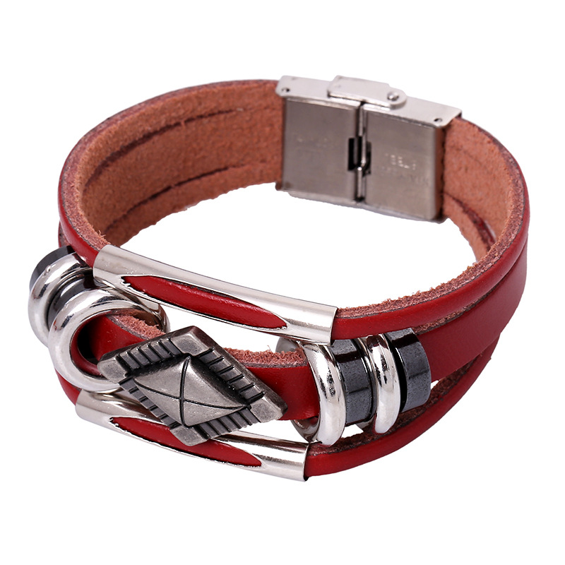 SZ2436 6 Color fashion Punk Jewelry handmade multi-layer wristband Leather Vintage buckle men women Bracelets Bangles Wholesales