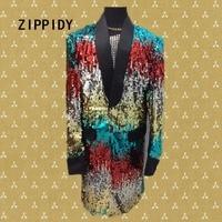 Multicolor Sequins Long Style Glisten Design Men Blazer Bar Nightclub Male Singer Show Suit Coat Trendy Costume Magician Outfit
