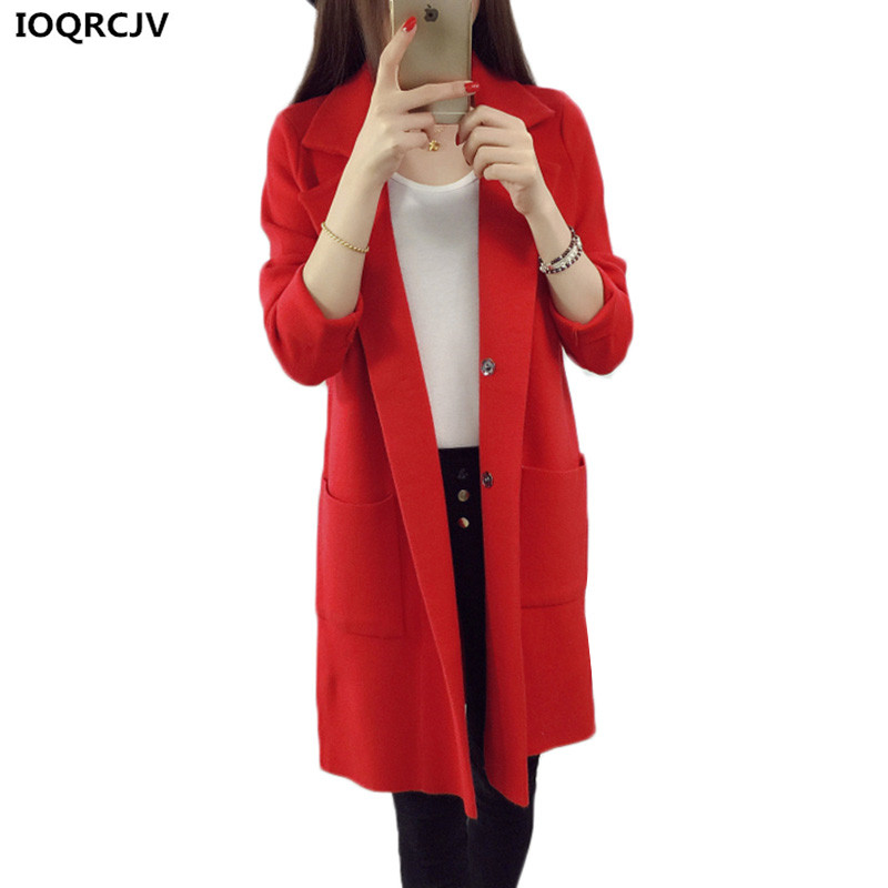 New Women Knit Cardigan Sweater Coat Spring Autumn Jacket Solid Color Suit Collar Long Outerwear Large Size Women Knit Sweater charter club new blue sky women s medium m cable knit crewneck sweater $59 359