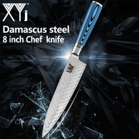 XYj 8 inch Damascus Steel Chef Kitchen Knife Blue Non slip Handle Fish Pattern Blade Knife Meat Fish Kitchen Accessories Tools