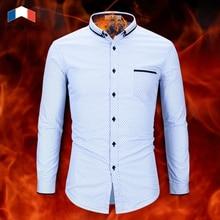 Langmeng New Winter Long Sleeve Polka Dot Men Shirt Male Fashion Casual Shirt Mens Thick Warm Dress Shirts Brand Clothing polka dot long sleeve casual shirt