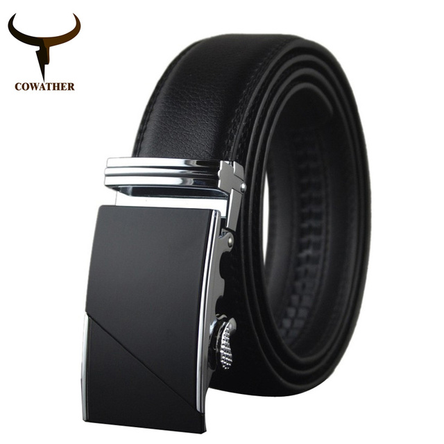 COWATHER 2016 High Quality Male New Brand COWgenuine Leather Belts for Men special letter Automatic Buckle Strap free shipping