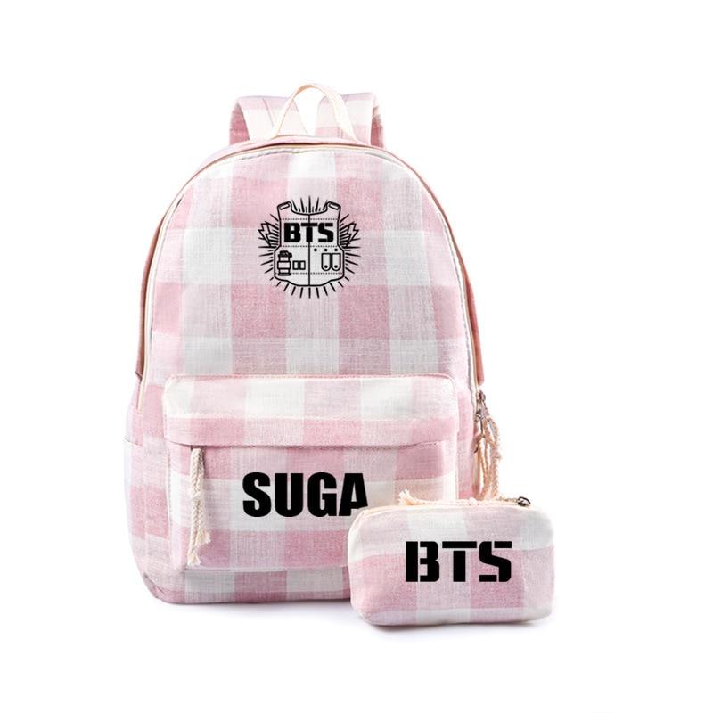 New Kpop Bts Backpack Travel Shoulder Cartoon Lovely Travel Bag For Teenagers Girls Women  Schoolbag And Bts Pencil Bag