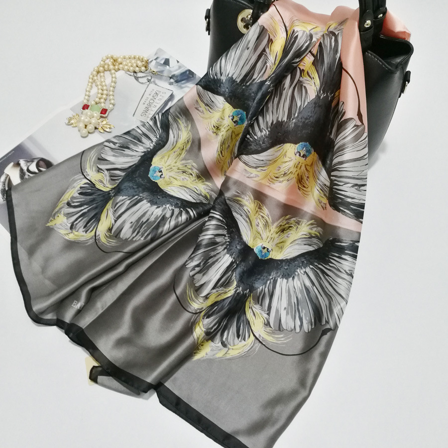 Silk   Scarf     Wrap   Print Eagle   Scarves   Foulard Shawl Hijab Luxury Brand Bufandas Cape Head   Scarves   Oversize Beach Towel SF035