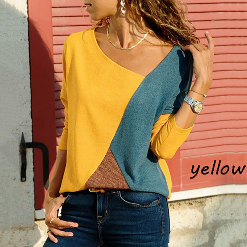 2019 T-Shirt Women Long Sleeve Casual Loose Tops Tee Shirt Office Blusas Mujer  Femme Patchwork Sexy V-Neck Female T Shirts