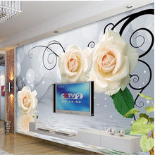 Modern Simple White Rose Reflection Water 3D Wallpaper Living Room TV Sofa Backdrop Wall Home Decor Mural Papel De Parede Floral(China)
