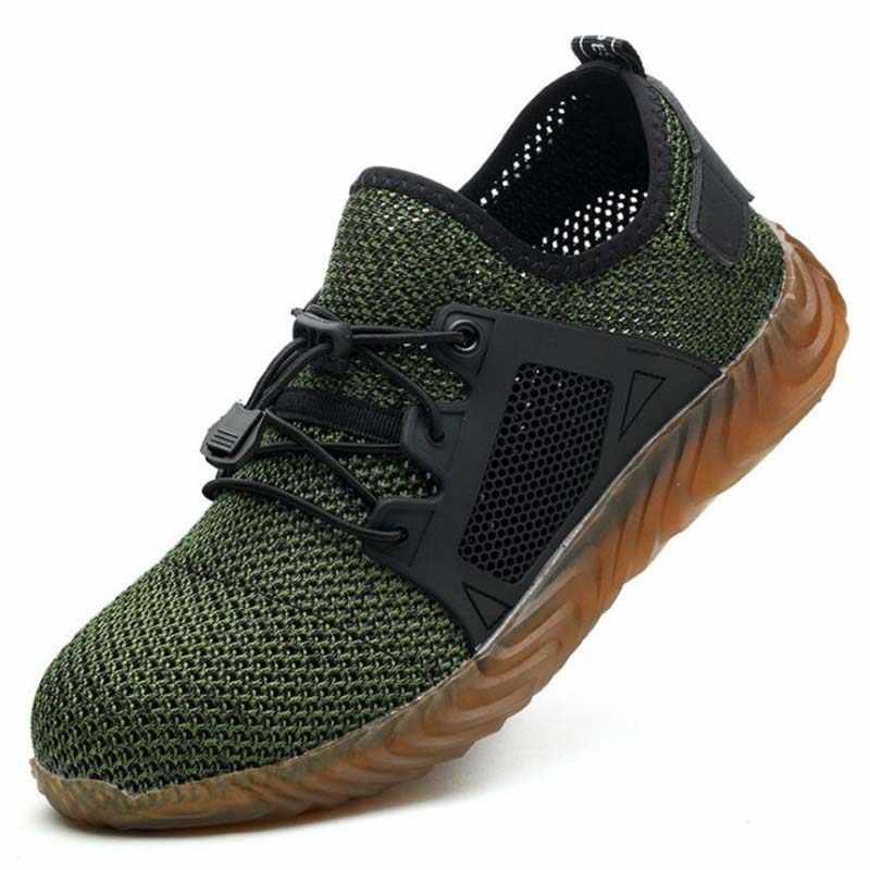 35 ~ 48 nieuwe 2019 Ademend Mesh Veiligheid Schoenen Mannen Licht Sneaker Onverwoestbaar Stalen Neus Zachte Anti-piercing Werk laarzen Plus size