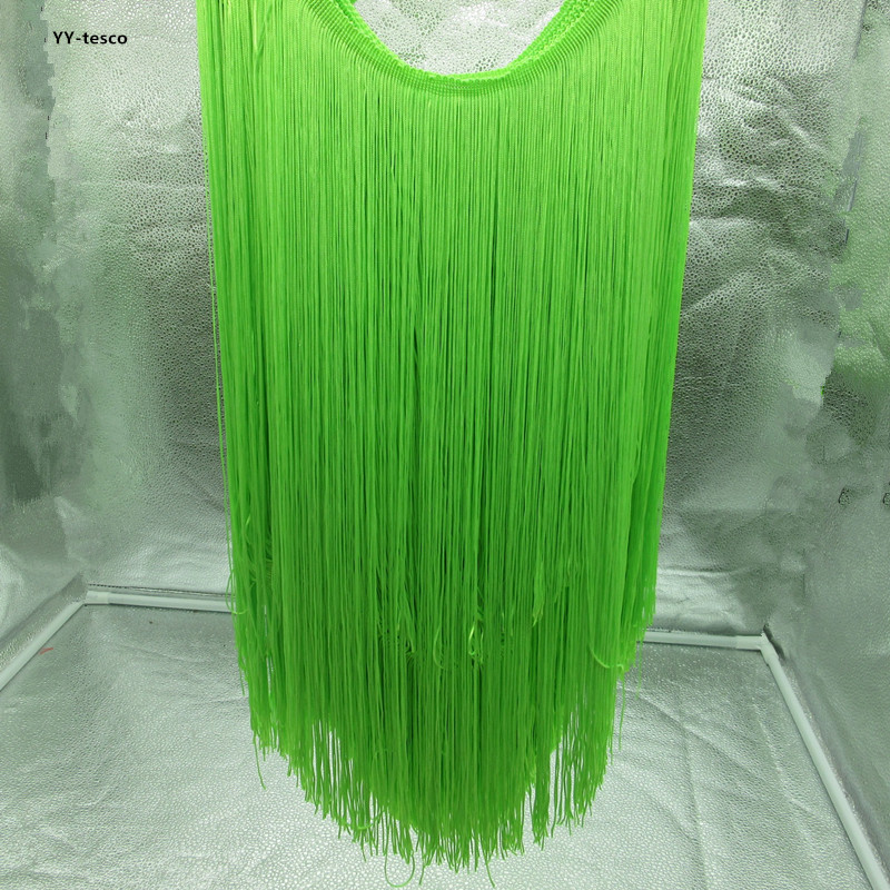 5 Meters 50cm Wide Fringe Lace Ribbon Trim Tassel Fluorescent Green Fringe Trimming For Latin Dress Stage Clothes Accessories