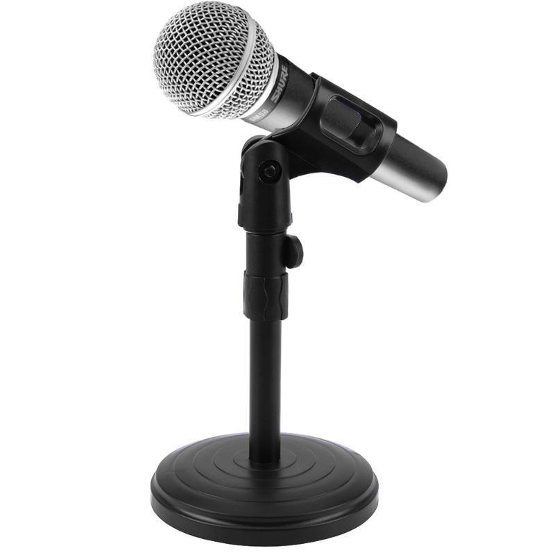 Desk Microphone Stand –Metal Arm Round Base –Short Clip Holder-Table Mic Bracket