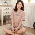 Бесплатная доставка Лето плюс размер пижамы модальные женщин мать одежды летом 100% хлопка с коротким рукавом пятидесятилетний набор 4xl
