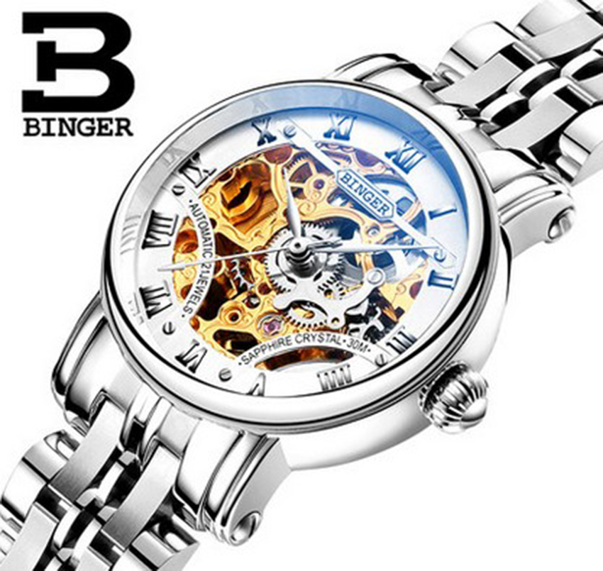 Genuine Luxury BINGER Brand Women automatic mechanical self-wind full steel hollow waterproof male fashion watch free shipping women favorite extravagant gold plated full steel wristwatch skeleton automatic mechanical self wind watch waterproof nw518