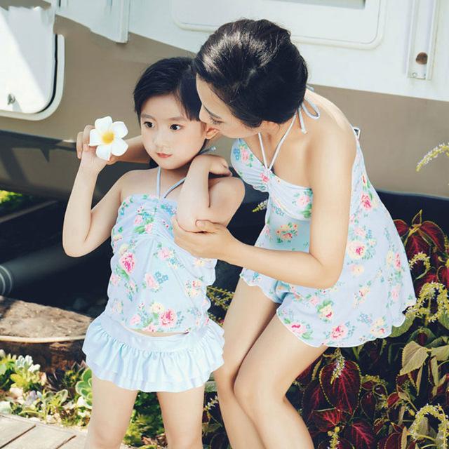 Família Roupas Combinando Casual Swimwear Meninas Estilo Verão Mãe Filha Swimsuit de Uma Peça