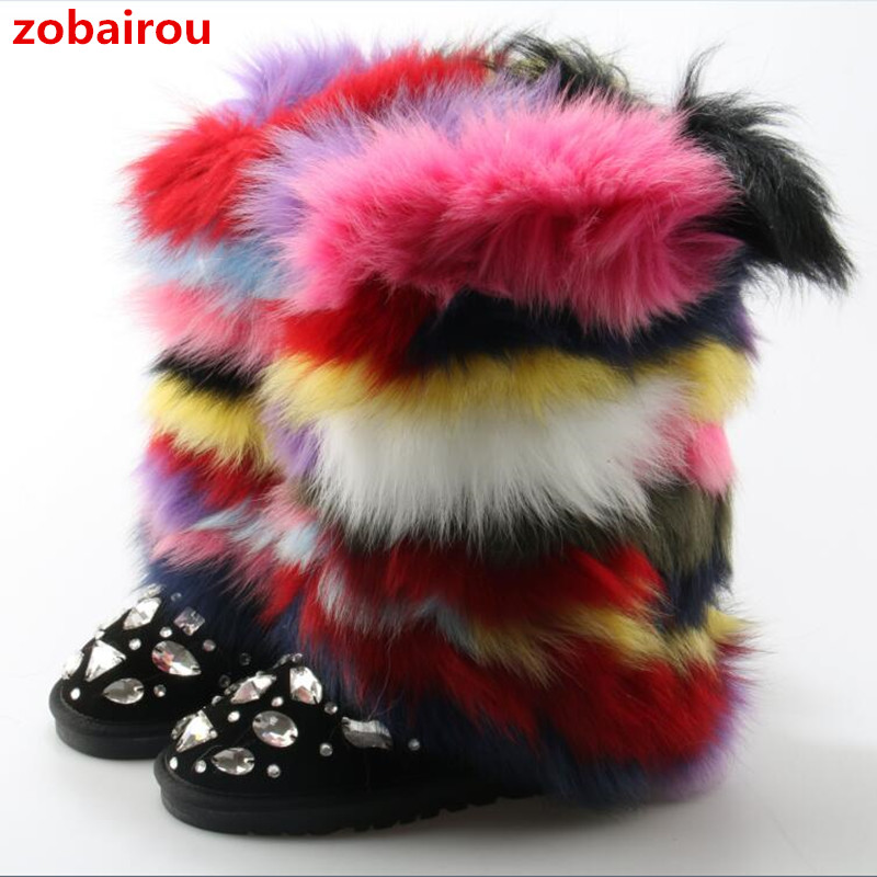Zobairou Luxury Handmade Mixed Color Fox Hair Snow Boots Genuine Leather Winter Shoes Womens Bota Crystal Colorful Fur Boots