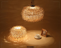 New Arrival Nordic Pendant Lights Creative Wood Lamps 220v Lighting E27 Novelty Nest Bird Cage Lamp With Incandescent Bulbs