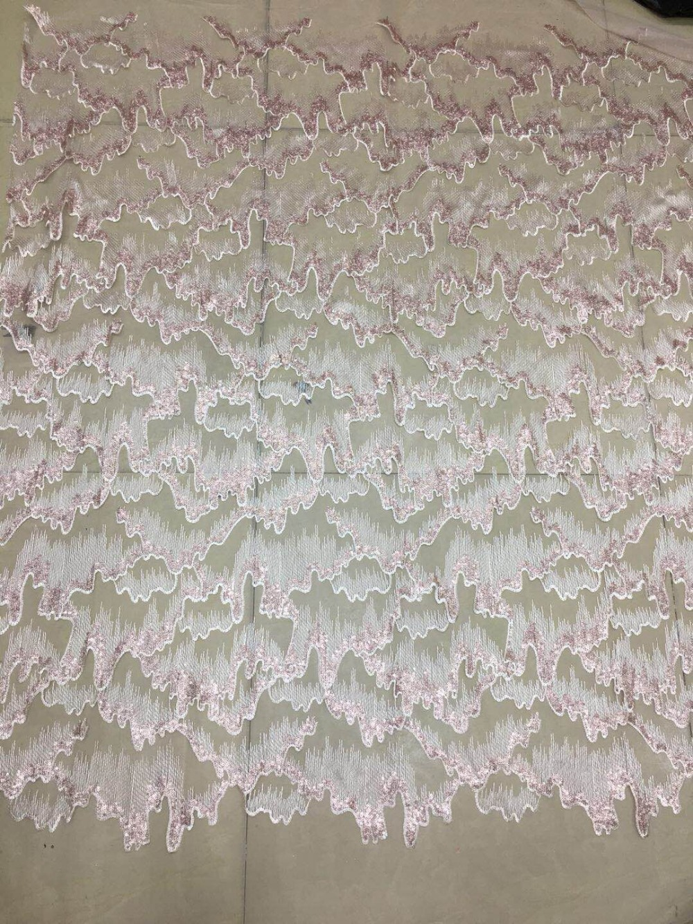 sat 92209 african tulle lace fabric with sequins embroidered tulle lace fabric 5yards