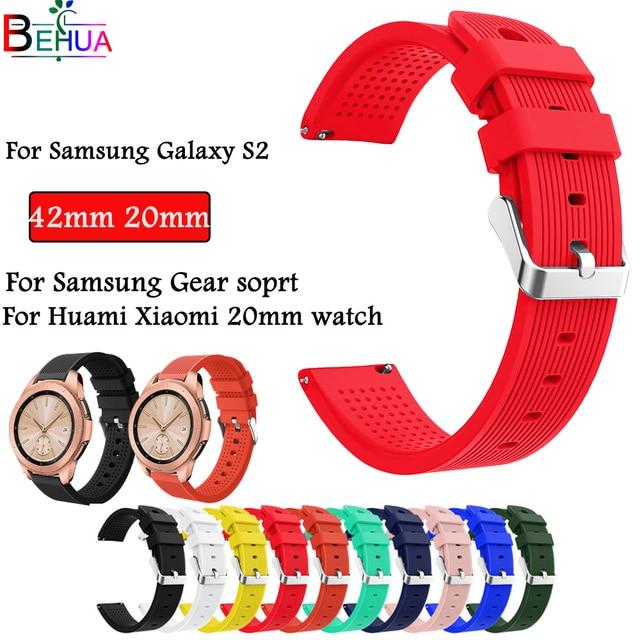 42mm band Für Samsung Galaxy Uhr Ersatz Sport Silikon 20mm strap Für Getriebe 2 Sport Strap Für Huami amazfit Bip/Amazfit 2