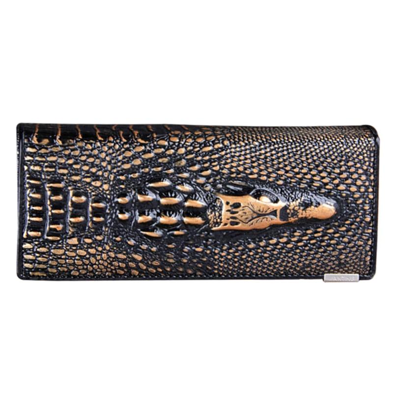 crocodilo longo embreagem genuíno couro Wallet Comprimento : Longo