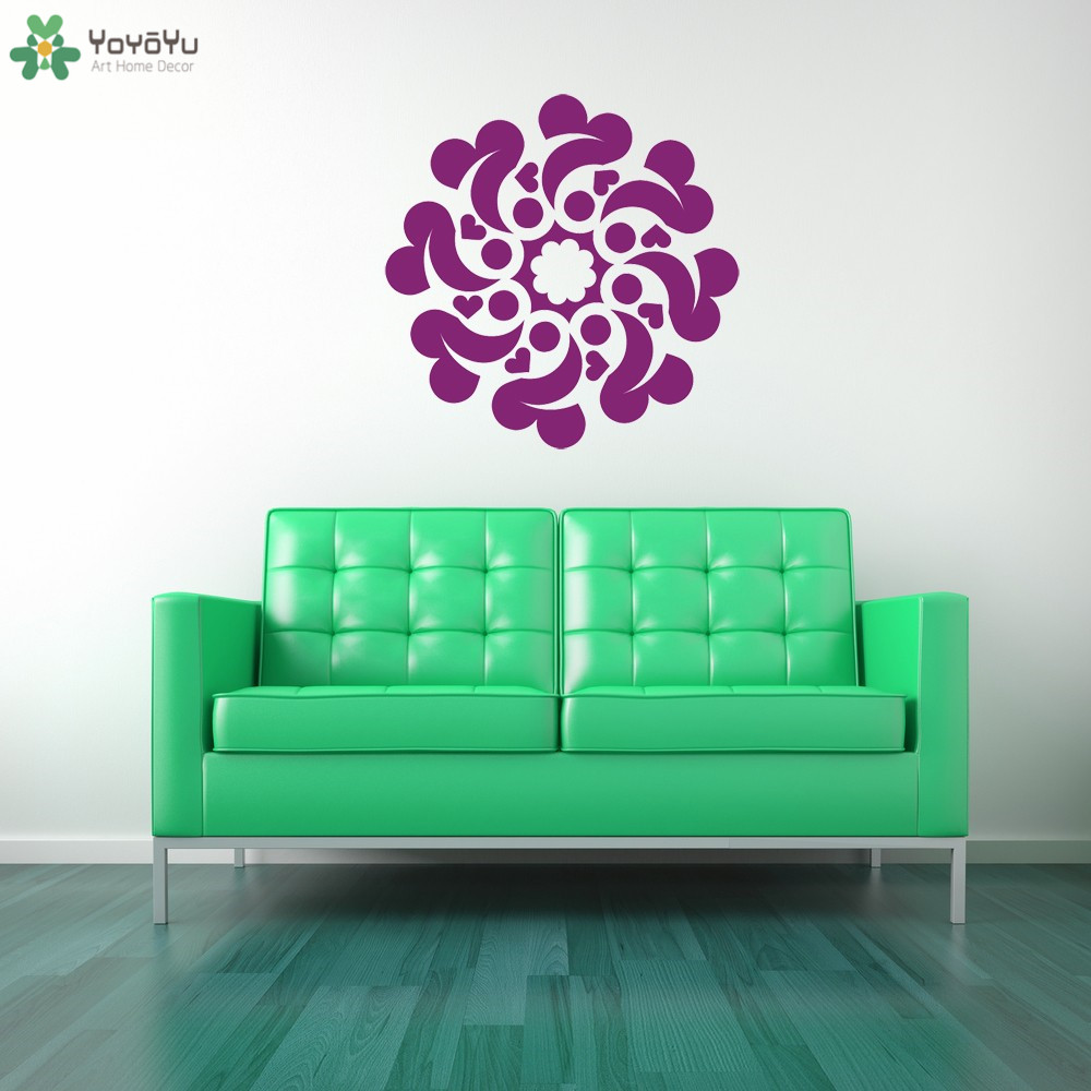 Lamp light wall art decor removable mural vinyl decal sticker purple - Mandala Flower Wall Decal Ceiling Hearts Vinyl Wall Stickers For Kids Rooms Poster Removable Home Art Mural Decor Adhesive Sy159