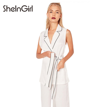 SheInGirl White Womens Top For Blouses Lapel Neck Sleeveless Belt Basic Shirt Female Casual Brief Ladies Office Shirt