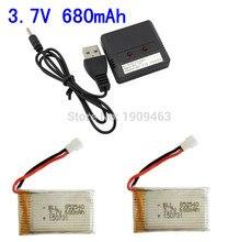 2 in 1 Syma X5C X5C-1 X5A X5 X5SC X5SW H5C V931 CX30W CX30 Lipo Battery Charger + 2Pcs 3.7V 680mAh 20C Battery Free shipping