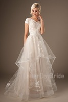 Long Modest Wedding Dresses With Cap Sleeves Sweetheart Ruffles Skirt Buttons Back Modest Country Wedding Gowns Custom Made
