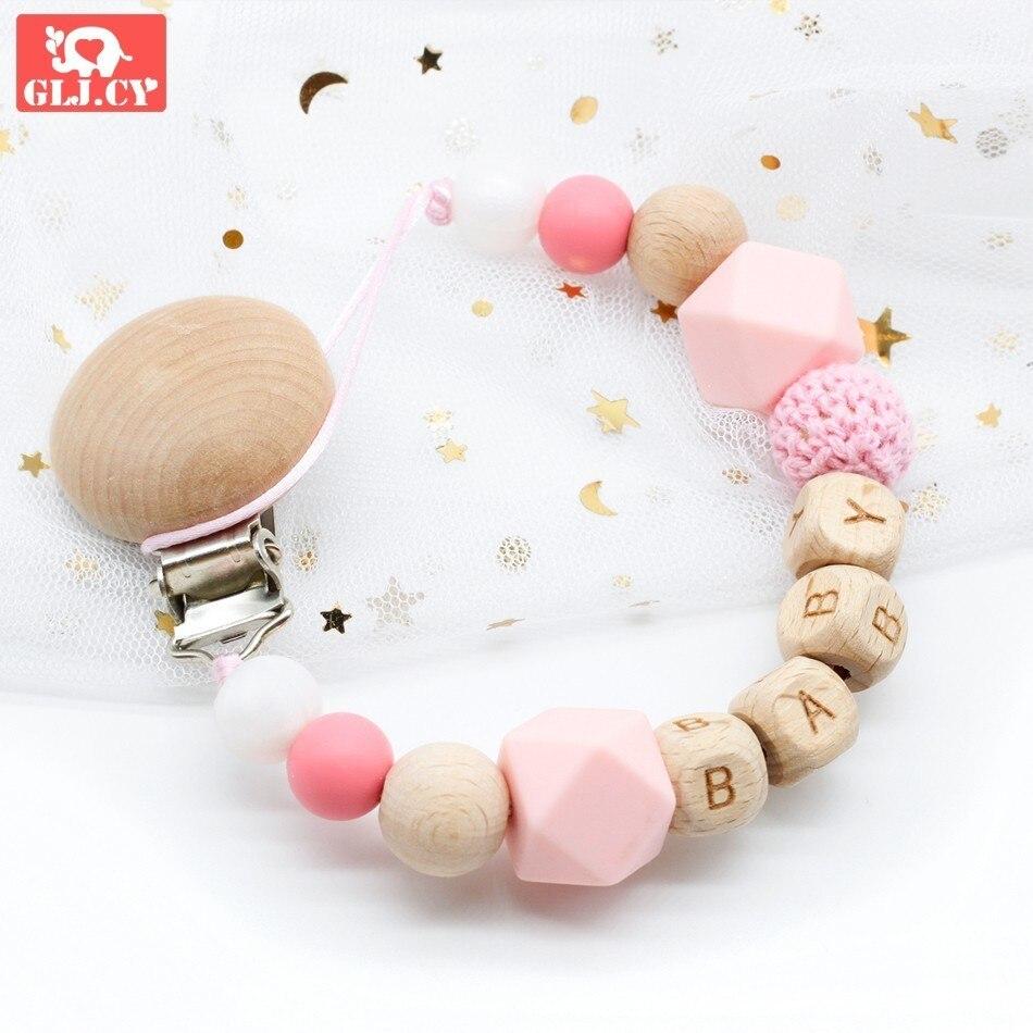 Pacifier Holder Dummy Clip  Natural Organic Crochet Wood Custom Name Personalised Beads Beech Maple Baby Newborn Shower Gift