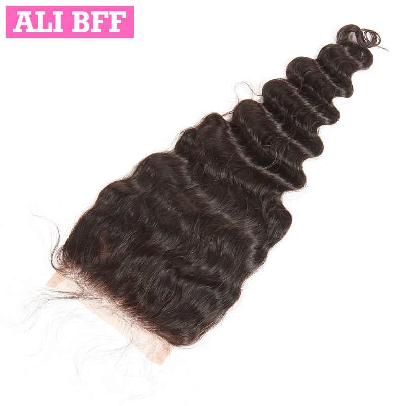Mechones de pelo humano brasileño suelto de Ali BFF de 3/4 mechones con cierre de encaje 4x4, Parte gratis, Color Natural, envío gratis, cabello Remy