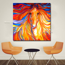 high quality hand painted Canvas painting Animal colorful hair horse head Wall Art Picture Home Decor Painting For Living Room