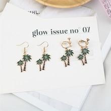Korean Cute Cartoon Coconut Tree Simple INS Woman Girls Clips Dangle Drop Earrings Fashion Jewelry-LAF simple style coconut tree freehand sketching pattern pillowcase