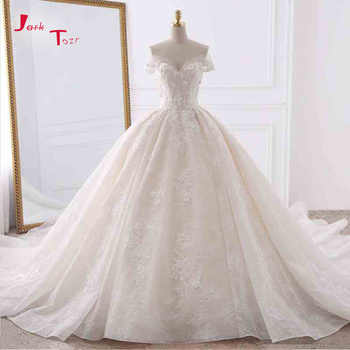 Jark Tozr Customize Short Sleeve Pearls Lace Appliques Flowers Floral Princess Wedding Dress With Chapel Train 6-Ring Petticoat - DISCOUNT ITEM  28% OFF All Category