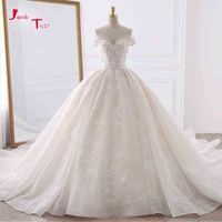 Jark Tozr Customize Short Sleeve Pearls Lace Appliques Flowers Floral Princess Wedding Dress With Chapel Train 6 Ring Petticoat